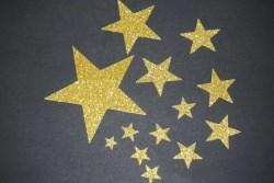 Sterne Aufkleber Hotfix Bügelbild Textilaufkleber Glitterfolie gold 13 Stück Applikation