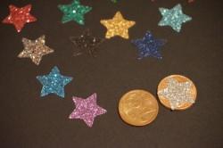 Sterne Aufkleber Hotfix Bügelbild Textilaufkleber Glitterfolie bunt  15 Stück