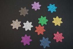 Sterne Aufkleber Hotfix Bügelbild Textilaufkleber Glitterfolie bunt  11 Stück