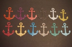 Anker Aufkleber Hotfix Bügelbild Textilaufkleber Glitterfolie bunt 12 Stück
