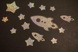 Sterne Rakete Bügelbild 14 St. STARFLEX silber