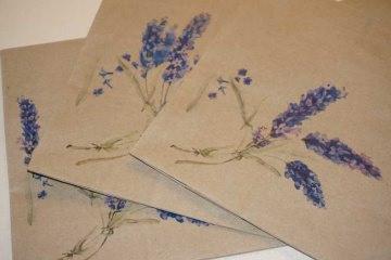 Kraftpapier Bodenbeutel 15 cm x 29 cm, bedrückt Lavandel verschiedene Motive