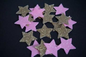 Sterne Aufkleber Hotfix Bügelbild Textilaufkleber Glitterfolie pink gold 20 Stück