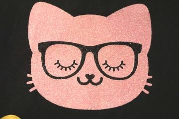 Katze Bügelbild 1 St. pearl glitter Folie Hotfix Applikation