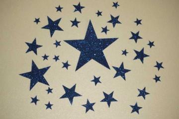 Sterne Aufkleber Hotfix Bügelbild Textilaufkleber Glitterfolie sdunkelblau 30 Stück Applikation