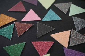 Dreieck Bügelbild 20 Stück pearl glitter Bunt Aufkleber Hotfix Bügelbild Textilaufkleber Glitterfolie  Applikation