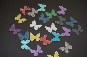 Schmetterling Aufkleber Hotfix Bügelbild bunt Textilaufkleber 20 St. glitter