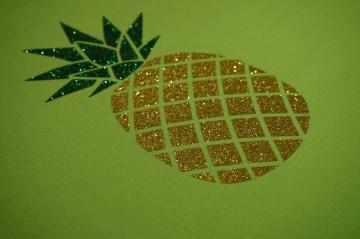 Bügelbild Ananas groß pearl glitter gelb grün pearl glitter Folie Hotfix Applikation
