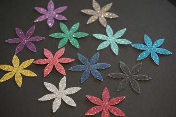 Blume Bügelbild 12 St. pearl glitter glitter   Blume-Aufkleber-Hotfix-Buegelbild-bunt-