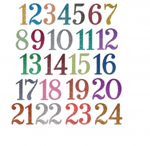Adventszahlen zum Aufbügeln Aufkleber Hotfix Bügelbild Textilaufkleber Glitterfolie Glitzerfolie bunt 24 Stück