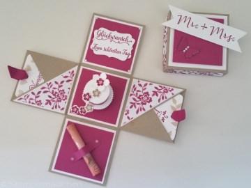 Handgefertigte Explosionsbox zur Hochzeit für Geldgeschenke & Glückwünsche