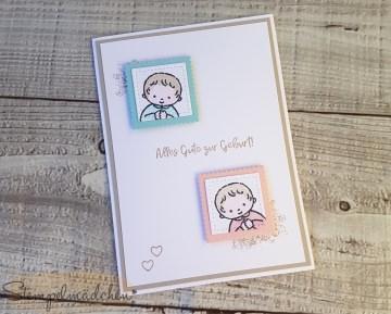 Glückwunschkarte zur Geburt / Taufe von Zwillingen