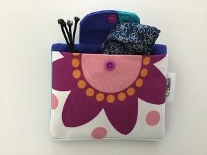 Behelfsmasken Täschchen Power Flower genäht mit zwei Fächern. Tolles Geschenk! - Handarbeit kaufen