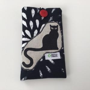 Stylische Handytasche mit Katzenmotiv - Ideal für Handys bis L 16 cm B 8 cm. Mit Liebe genäht. Jetzt kaufen! - Handarbeit kaufen