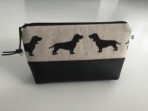 Schminktäschchen  Dackelleben - praktisch für die Handtasche. Aus Kunstleder und Stoff genäht. Jetzt kaufen! - Handarbeit kaufen
