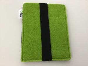 E-Reader E-Book Hülle aus 3mm dicken Filz genäht, in frischem Grün mit Grau.   - Handarbeit kaufen