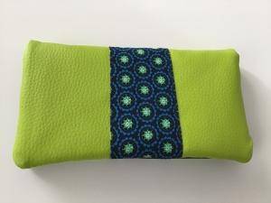 Portemonnaie / Geldbeutel aus Kunstleder und Stoff genäht in frischen witzigen Farben jetzt kaufen  - Handarbeit kaufen