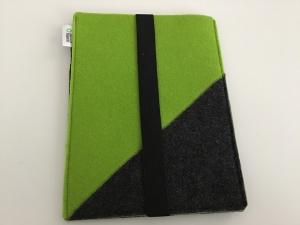 Tablet Tasche Grün/Grau aus Filz genäht B 27 cm x 20 cm mit Gummiband kaufen - Handarbeit kaufen
