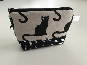 Schminktäschchen im stylischen Katzendesign -praktisch für die Handtasche aus Stoff genäht kaufen - Handarbeit kaufen