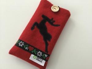 Handyhülle Hirschzeit aus rotem Wollstoff genäht ideal für Handys bis 14,5 cm x 7 cm oder Wunschmaß kaufen - Handarbeit kaufen