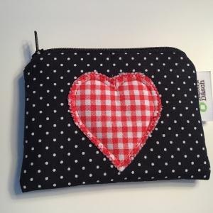Geldbeutel Portemonnaie mit süßer Herz Applikation   - Handarbeit kaufen