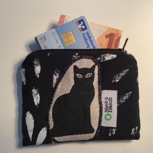 Geldbeutel Portemonnaie mit stylischer Katzen Applikation   - Handarbeit kaufen