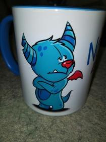G-TB0001-001 Tasse/Becher Keramik Schmollmonster blau/türkis -einfach Nö