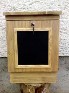 Holzbriefkasten, Holzpostkasten Memo Antik