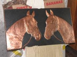 Sehr schönes Kupferbild 65cm*35cm zwei Pferdeköpfe