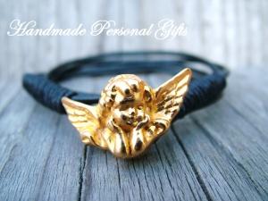 Armband Leder , Engel, wrap,Schwarz, Schutzengel, Flügel, Kommunion, Glaube, benützerdefiniert - Handarbeit kaufen