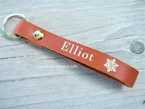 Schlüsselanhänger aus Leder, Vollständig anpassbar mit Namen oder kleinen Text, palunduzweiteliebe - Handarbeit kaufen