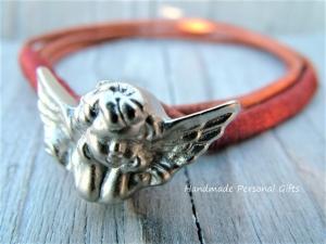 Armband Leder , Engel, wrap,Schwarz, Schutzengel, Flügel, Kommunion, Glaube, Weihnachten, - Handarbeit kaufen