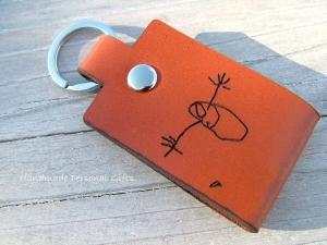 Eine Zeichnung Ihres Kindes,Schlüsselanhänger personalisiert,Geschenk für Vater und Mutter,individualisierbar, Fußabdruck,Kinderzeichnung, benütserdefiniert  - Handarbeit kaufen
