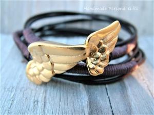 Armband für Mutter und Kind, Flügel, 2 stück,  dunkelbraun, Taufe, Kommunion, Konfirmation - Handarbeit kaufen