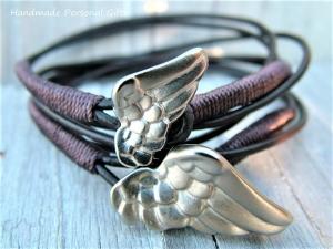 Armband für Mutter und Kind, Flügel, 2 stück,  dunkelbraun, Taufe, Kommunion, Konfirmation, Armbänderset, Set - Handarbeit kaufen
