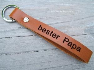 Schlüsselanhänger aus Leder, Vollständig anpassbar, bester Papa, Lieblingspapa,  mit Koordinaten, Namen oder kleinen Text, benützerdefiniert - Handarbeit kaufen