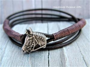 Armband Leder , wrap, Braun, Pferd, Reiter, Tiere, Leder Wickelarmband, Braun, - Handarbeit kaufen