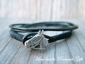 Armband Leder , wrap, Scharz, Pferd, Reiter, Tiere, Leder Wickelarmband, Silber, benützerdefiniert - Handarbeit kaufen