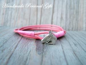 Armband Leder , wrap, Braun, Pferd, Reiter, Tiere, Leder Wickelarmband, roza, Pink - Handarbeit kaufen