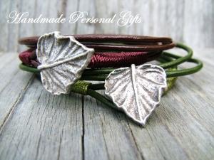 Armband Leder , wrap, Braun, Blatt, Blättern, Herbst, Leder Wickelarmband, benützerdefiniert, personalisiert - Handarbeit kaufen