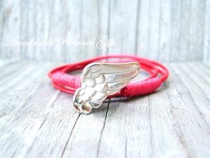 Anpassbares Armband Leder, Flügel, Engel Flügel, wrap, Rot, Engelsflügel, Wickelarmband, einzigartig, Schutzengel   - Handarbeit kaufen