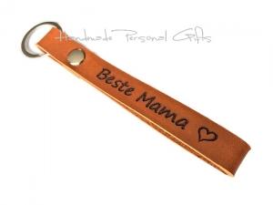Schlüsselanhänger aus Leder,  Lieblingsmama,  anpassbar mit Koordinaten, Namen oder kleinen Text, beste mama, welt beste mama - Handarbeit kaufen