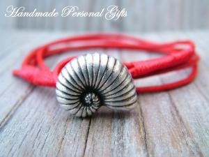 Individualiesierbares Armband Leder, Ammonit, Muschelarmband, wrap, Ibiza Schmuck, Wickelarmband, einzigartig, benützerdefiniertes - Handarbeit kaufen