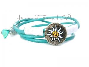 Lederwickelarmband in der Farbe Türkis, Edelweis, Perlen, individualisierbares Armband, maßgeschneidertes Armband, Dirndlschmuck, Oktoberfest, Dirndl - Handarbeit kaufen