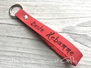 Schlüsselanhänger aus Leder, Vollständig anpassbar, Lieblingshebamme, Hebamme, Namen oder kleinen Text, Koordinaten   - Handarbeit kaufen