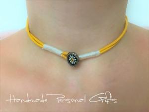 Lederhalskette mit einem schönen Edelweiß als Hingucker, Edelweis, Blume, Blumenhalskette, als Armband zu verwenden, Lederarmband,benützerdefinierte Halskette - Handarbeit kaufen