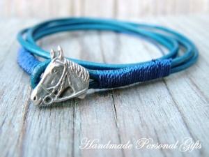 Armband Leder , wrap, Braun, Pferd, Reiter, Tiere, Leder Wickelarmband, roza, Pink, benützerdefiniert  - Handarbeit kaufen