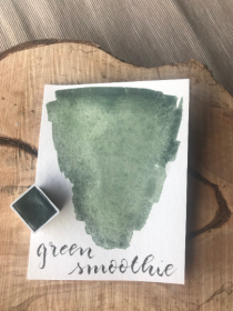 Green Smoothie Watercolor, Aquarell, halber Napf