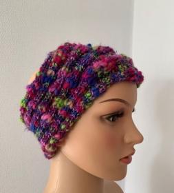 Handgestricktes buntes Stirnband für Mädchen oder Frauen - Handarbeit kaufen