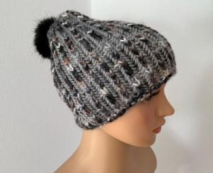 Handgestrickte grau-melierte Mütze für Erwachsene  - Handarbeit kaufen